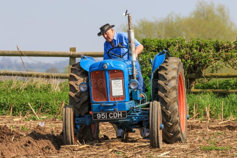 Старый голубой трактор майора fordson на паша спичке стоковое фото rf
