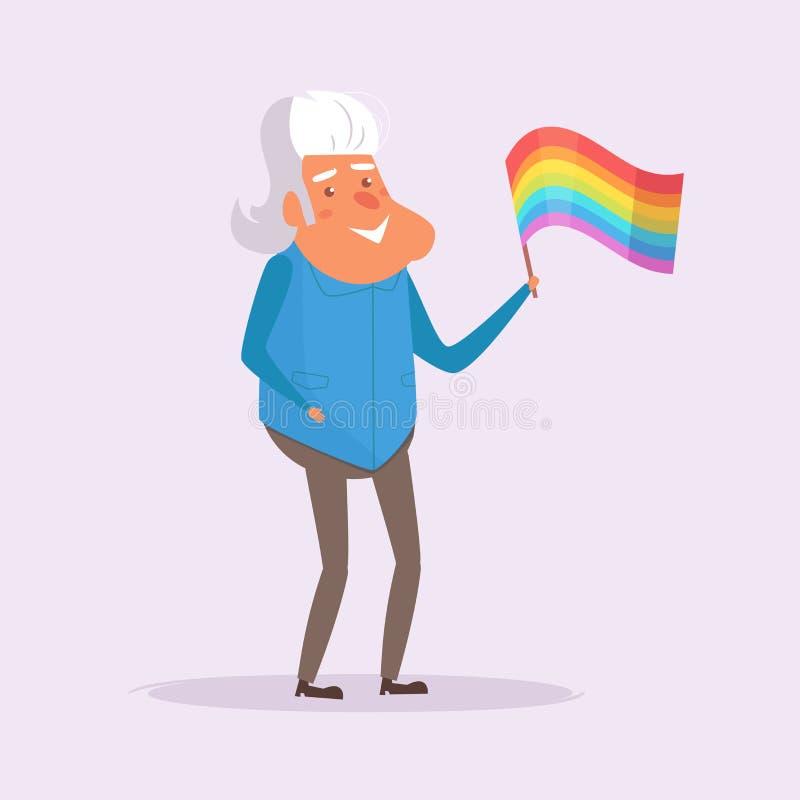 Старый гомосексуалист с флагом LGBTQ иллюстрация вектора