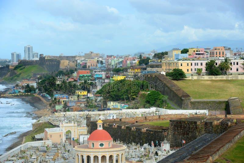 Старый горизонт города Сан-Хуана, Пуэрто-Рико стоковое изображение