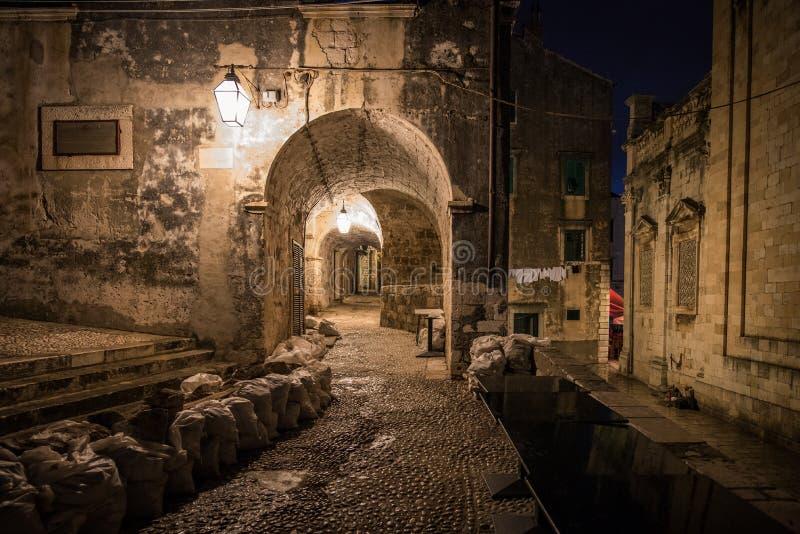 Старый городок Дубровник Хорватия на ноче стоковые фотографии rf