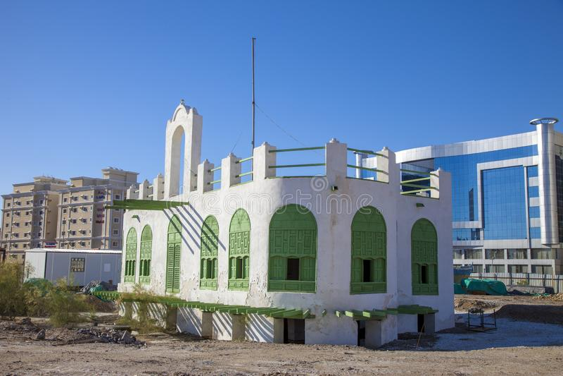 Старый город в Джидде, Саудовская Аравия известная как ` Джидды ` историческое Здание церкви и дороги старых и наследия в Джидде  стоковые изображения