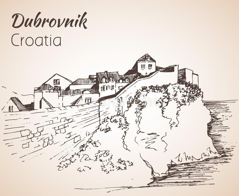Старый город Дубровник, Хорватия эскиз бесплатная иллюстрация