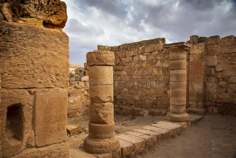 Старый город Nabatean Mamshit стоковая фотография