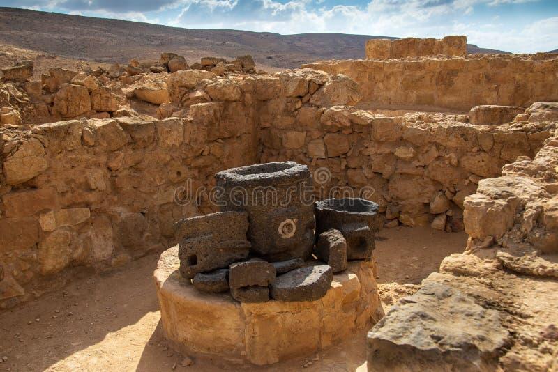 Старый город Nabatean Mamshit стоковое изображение rf