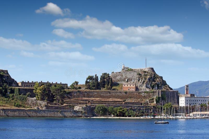 Старый городок Корфу крепости и морского пехотинца стоковая фотография