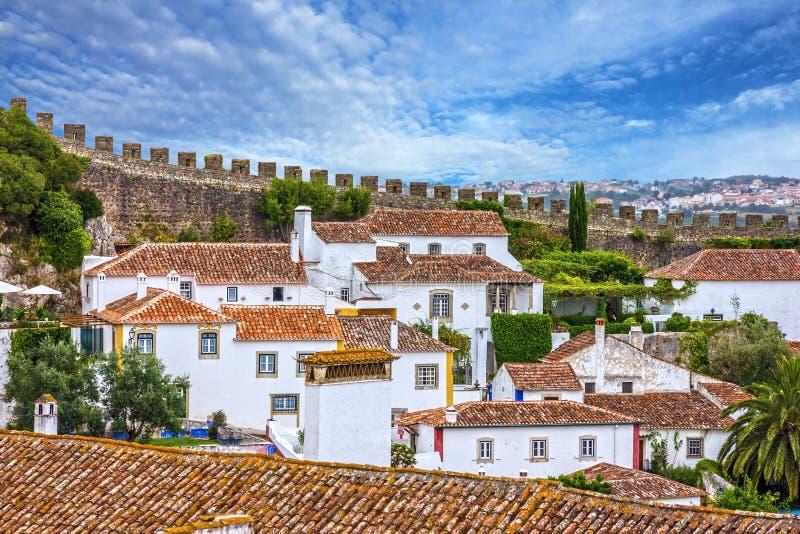 Старый городок, крепость Obidos, Португалия стоковая фотография rf
