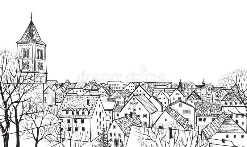 Старый городской пейзаж городка с улицей. Эскиз исторического здания и дома. иллюстрация штока