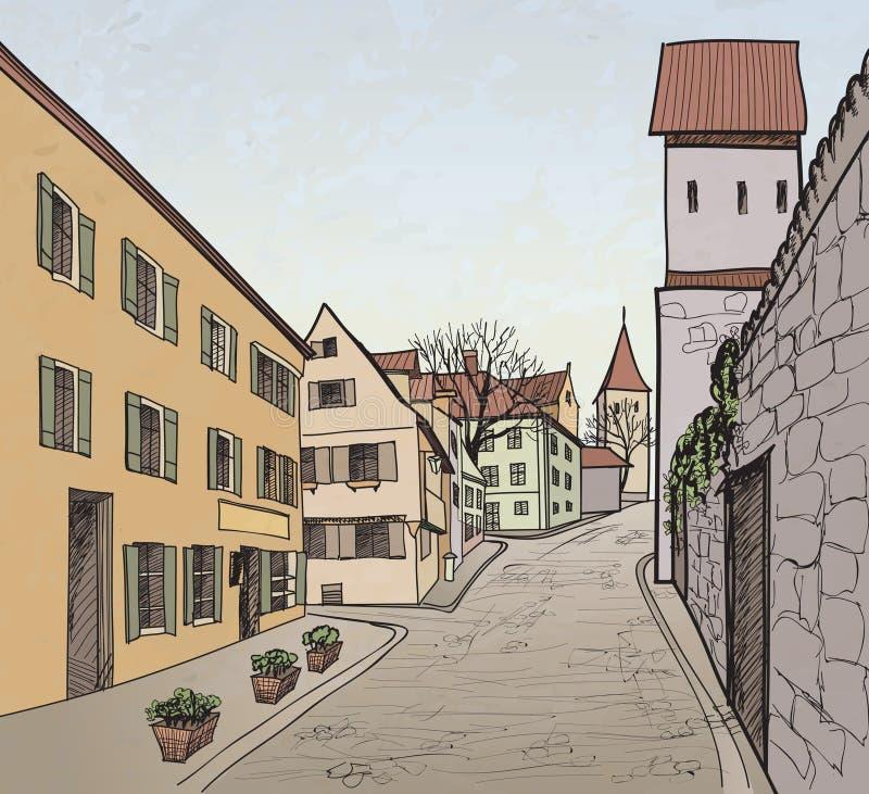 Старый городской пейзаж городка с улицей. Эскиз исторического иллюстрация штока