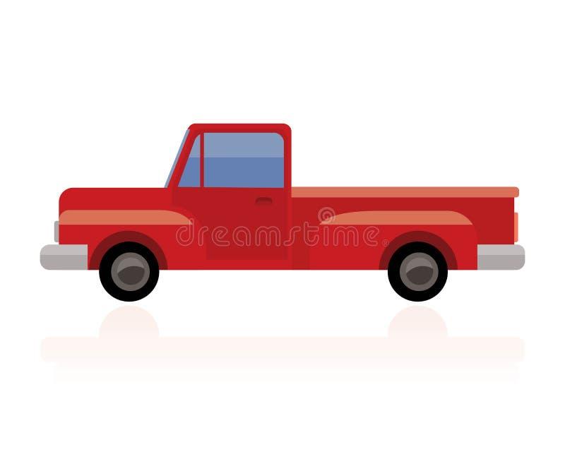 Старый грузовой пикап, винтажная красная приемистость иллюстрация штока