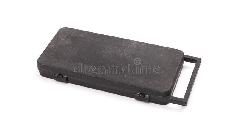 Старый грязный черный toolbox стоковая фотография rf