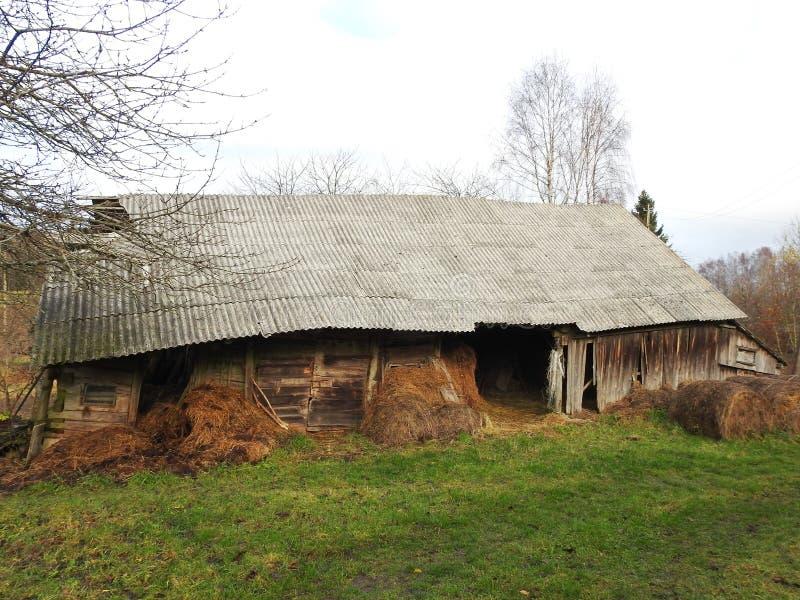 Старый деревянный амбар в деревне, Литве стоковые изображения
