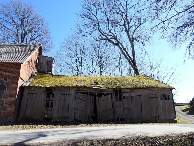 Старый деревянный амбар с зеленым мхом на крыше, Литве стоковое изображение rf