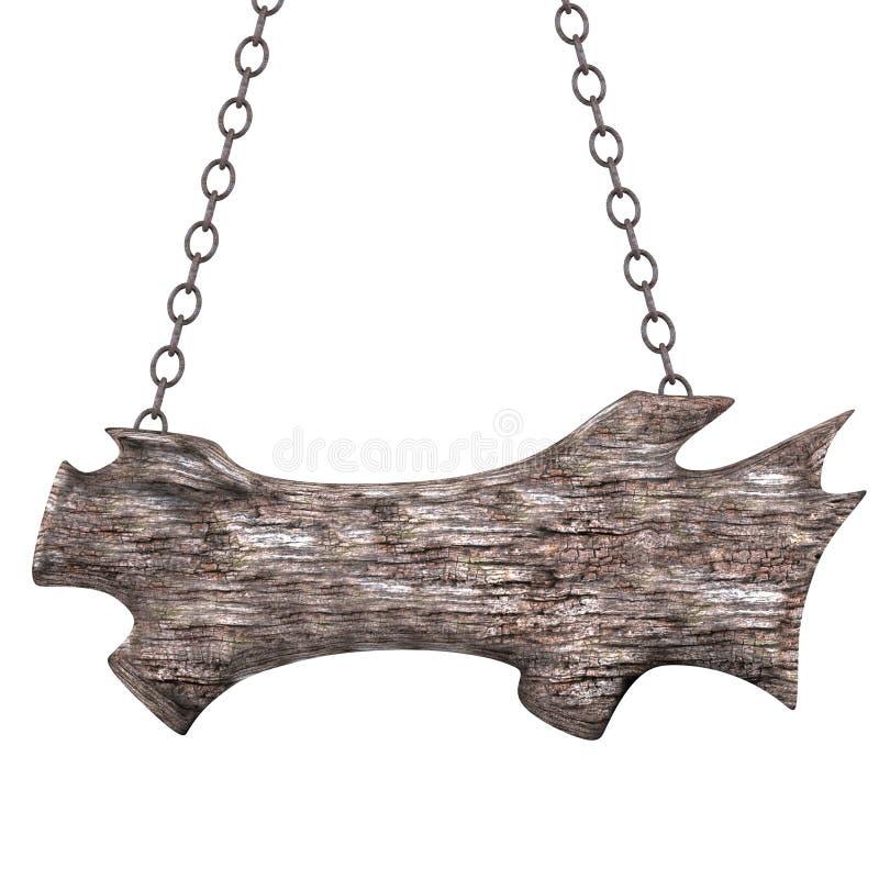 Старый деревянный знак на цепях. иллюстрация штока