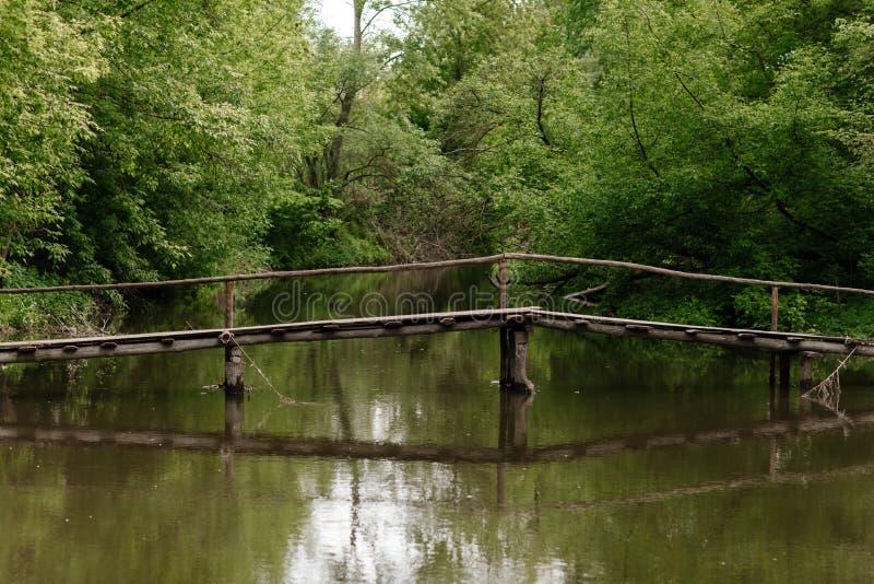 Старый деревянный мост, деревянный мост через небольшое реку, мост с природой стоковое изображение