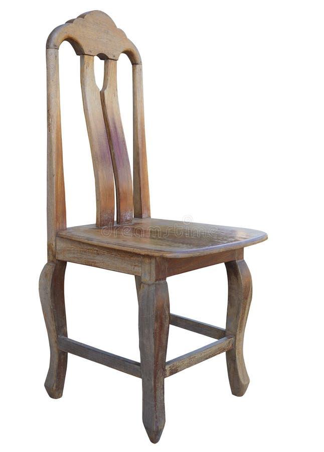 Старый деревянный стул на белой предпосылке Путь клиппирования стоковые фотографии rf