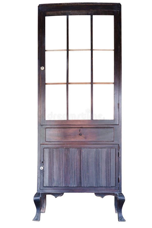 Старый деревянный шкаф с вставками стекла в двери изолировал o стоковые фото