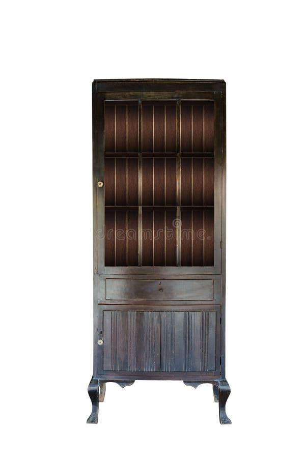 Старый деревянный шкаф с вставками стекла в двери изолировал o стоковые фотографии rf