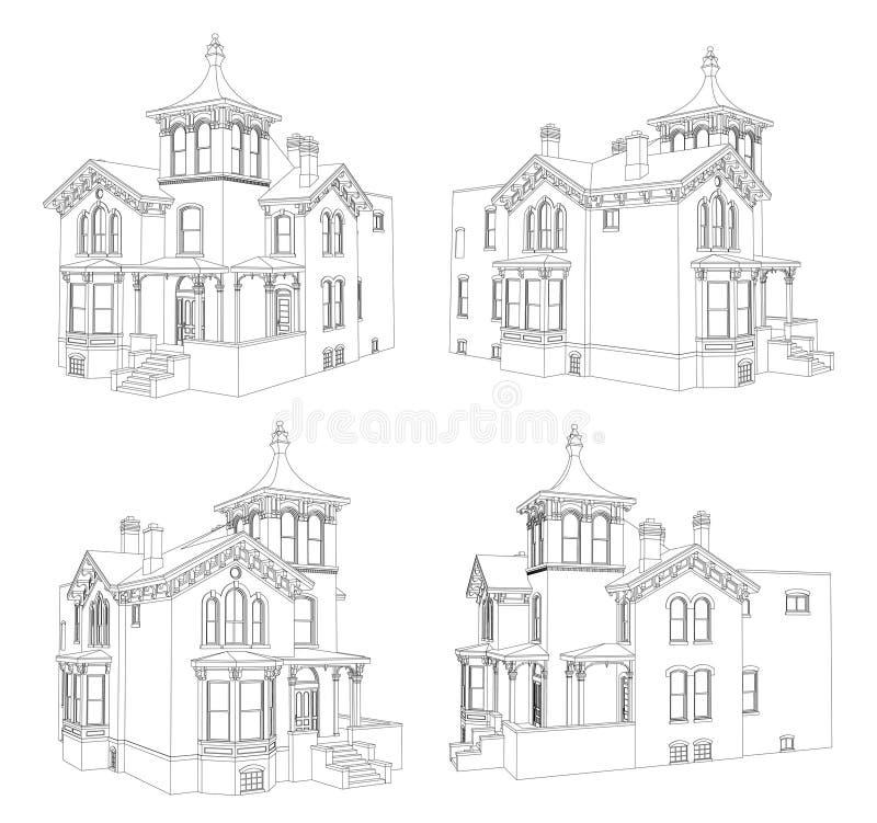 Старый дом в викторианском стиле белизна иллюстрации фингерпринта предпосылки Вид от различных сторон иллюстрация штока