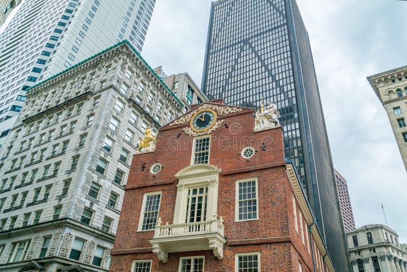 Старый дом положения, исторический центр города здания внутри Бостона, Массачусетса США стоковые фото