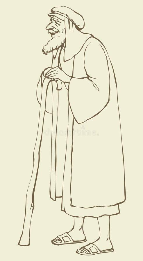 Старый еврей в национальном платье предпосылка рисуя флористический вектор травы бесплатная иллюстрация