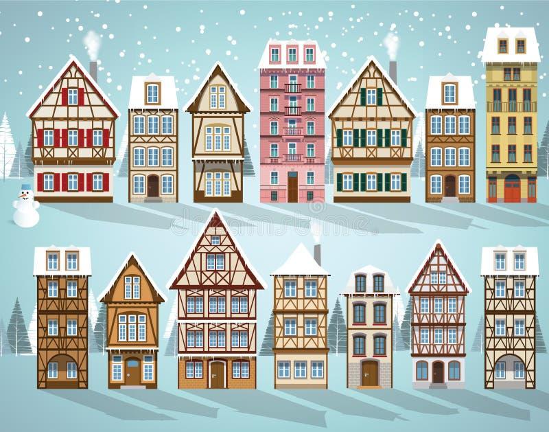 Старый европеец расквартировывает зиму бесплатная иллюстрация