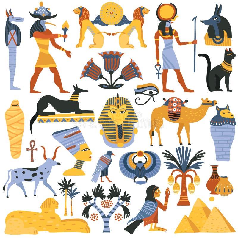 Старый египетский комплект элементов вероисповедания иллюстрация штока
