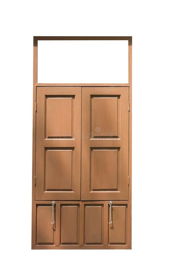 Старый деревянный двойной конец окна изолированный на белой предпосылке стоковые изображения