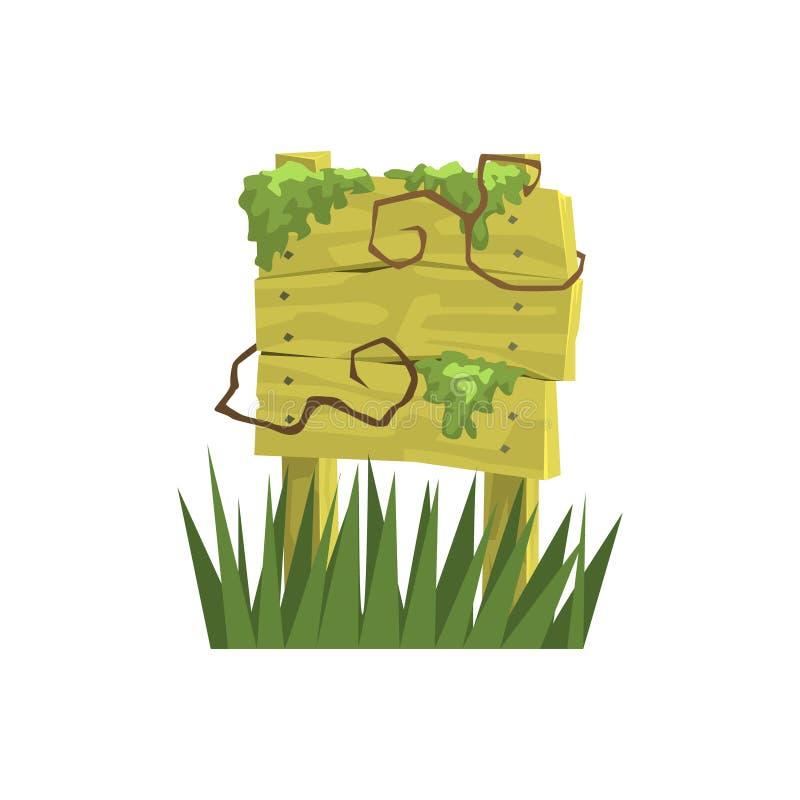 Старый деревянный знак предусматриванный в элементе ландшафта джунглей вегетации бесплатная иллюстрация