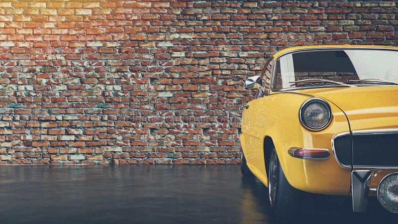 Старый желтый винтажный автомобиль иллюстрация вектора