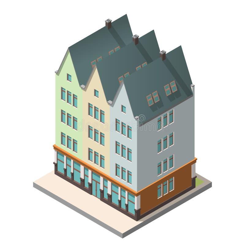 Старый жилой дом в европейском стиле с полом чердака бесплатная иллюстрация