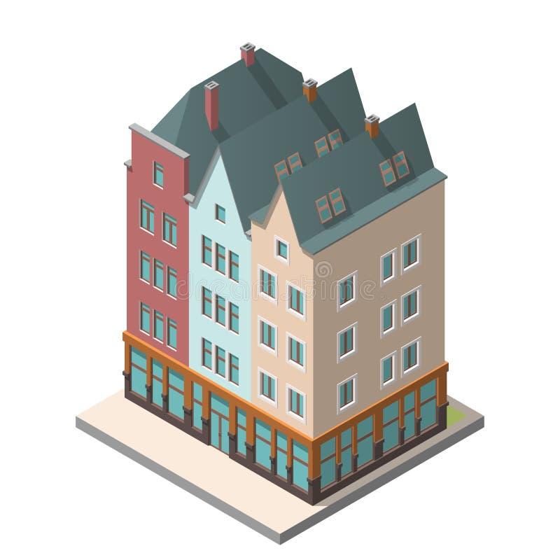 Старый жилой дом в европейском стиле с полом чердака иллюстрация вектора