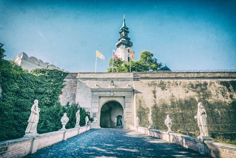 Старый замок в Nitra, Словакии, сетноом-аналогов фильтре стоковое изображение rf