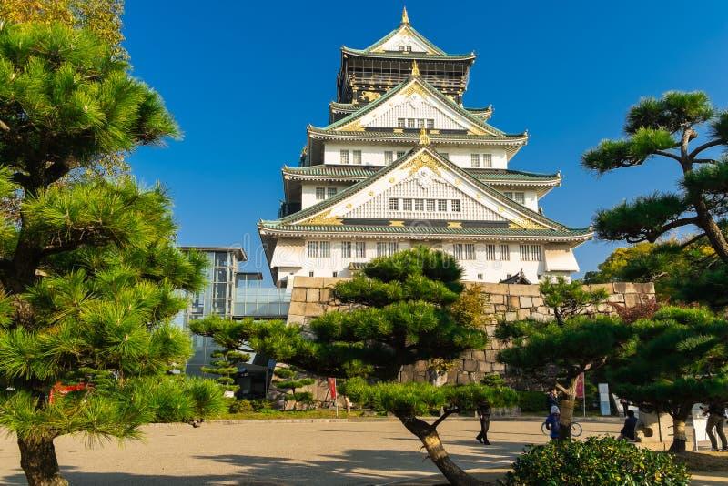 Старый замок Осака в Японии стоковые фотографии rf