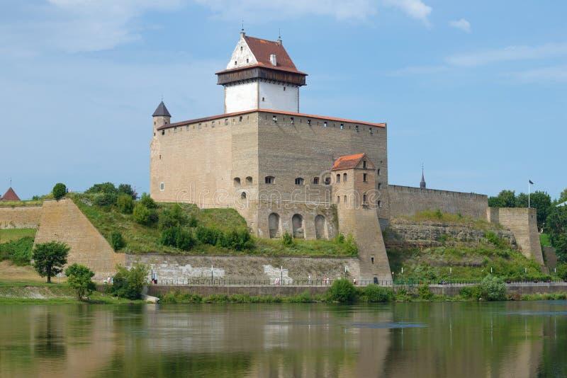 Старый замок Хермана на солнечный день в августе Narva, Эстония стоковые изображения rf