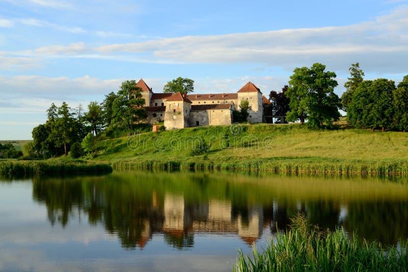 старый замок Svirzh около озера Украина стоковые изображения