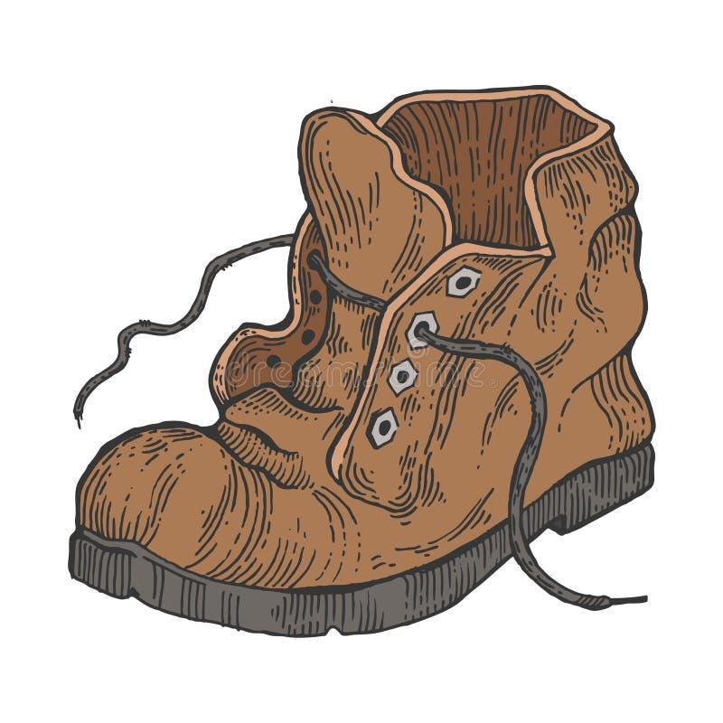 Старый затрапезный вектор стиля гравировки цвета ботинка бесплатная иллюстрация