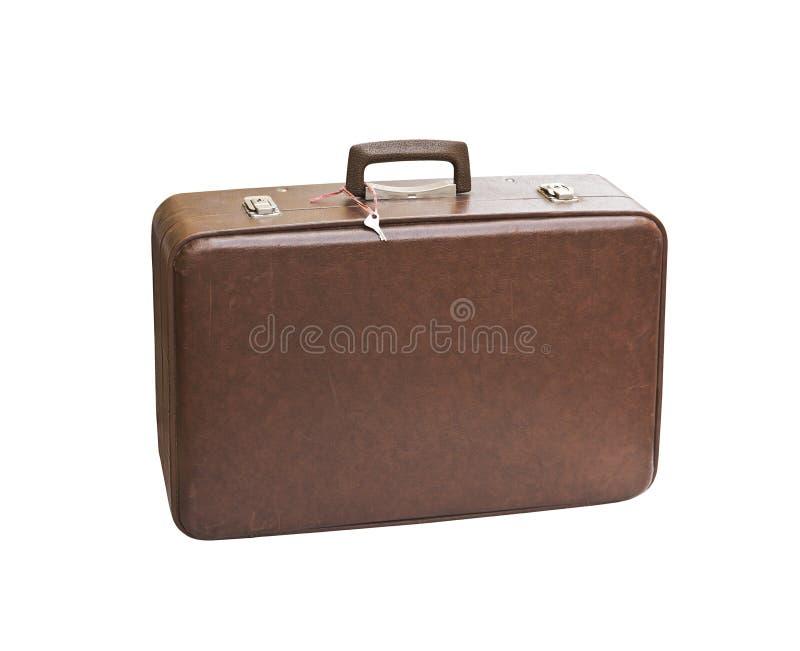 Старый затрапезный винтажный чемодан изолированный на белой предпосылке r стоковое изображение