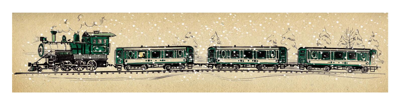 Старый зеленый поезд пара и 3 автомобиля под падая снегом в снежном лесе рисуя шариковую ручку и ручку войлок-подсказки иллюстрация вектора