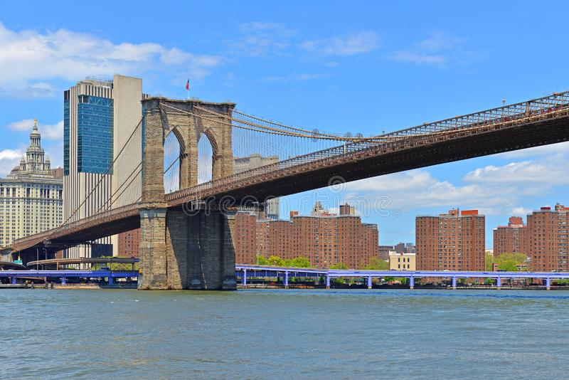 Старый знаменитый Бруклинский мост 1883, гибридный трос-стальной мост, подвесной мост в Нью-Йорке Соединенные Штаты стоковая фотография rf