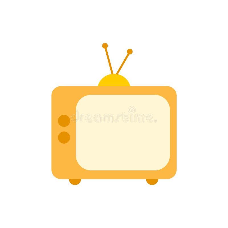 Старый значок телевидения, желтый значок ТВ иллюстрация вектора