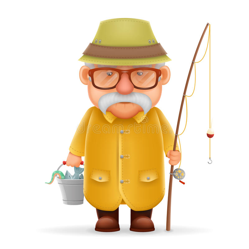 Старый дизайн персонажа из мультфильма деда 3d рыболова реалистический изолировал иллюстрацию вектора иллюстрация вектора