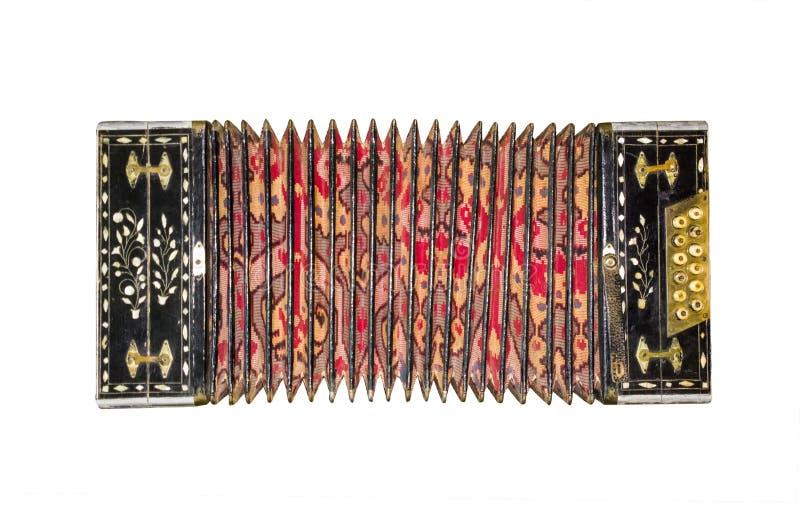 Старый изолированный аккордеон Винтажная гармоника Ретро аккордеон кнопки стоковые фотографии rf