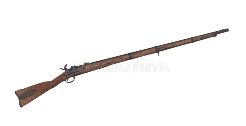 Старый изолированный мушкет гражданской войны стоковые изображения