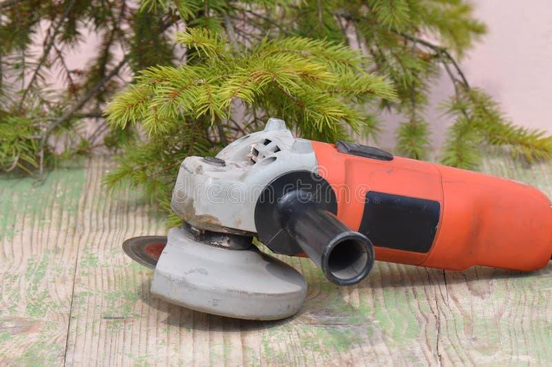 Старый используемый пылевоздушный точильщик стоковое изображение