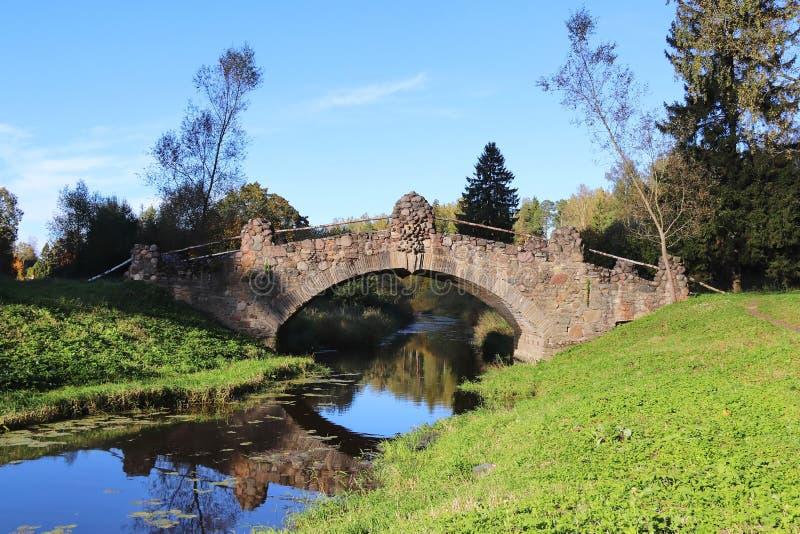 Старый исторический каменный мост на небольшом реке в лесе стоковое фото rf