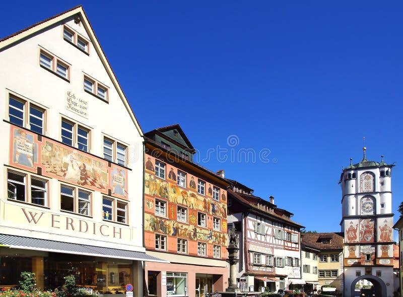 Старый исторический средневековый старый городок Wangen im стоковые изображения