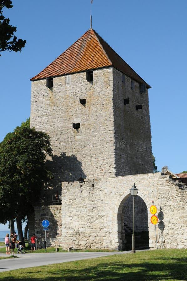 Старый и живописный город visby стоковые фотографии rf