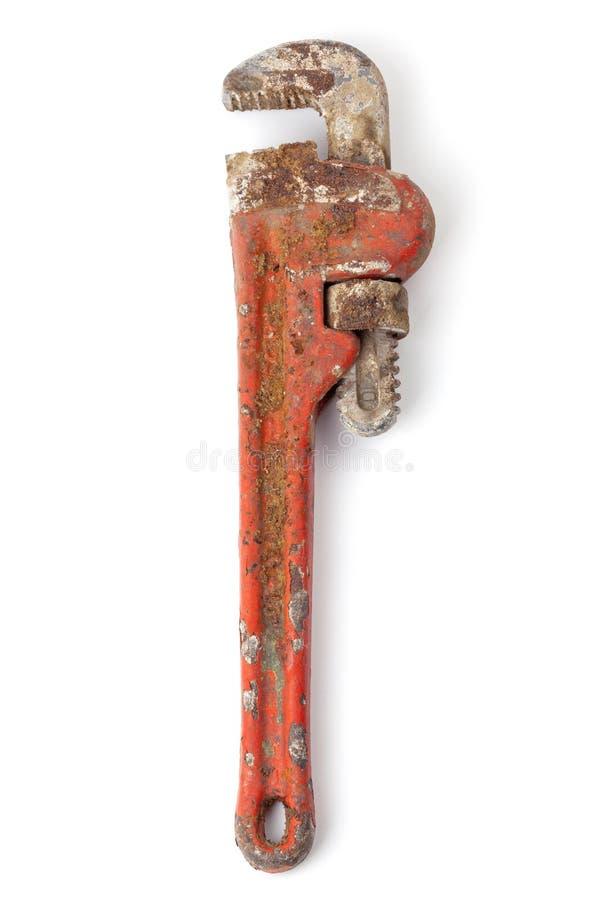 Старый и ржавый универсальный гаечный ключ стоковое изображение rf