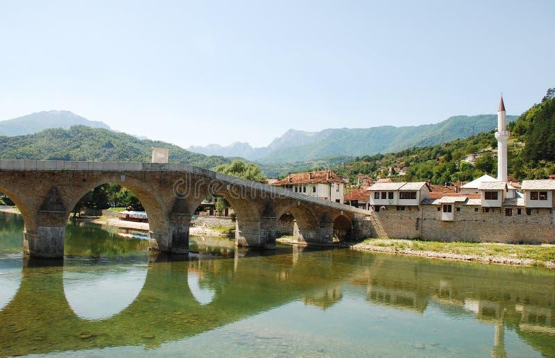 Старый каменный мост в Konjic стоковые фотографии rf