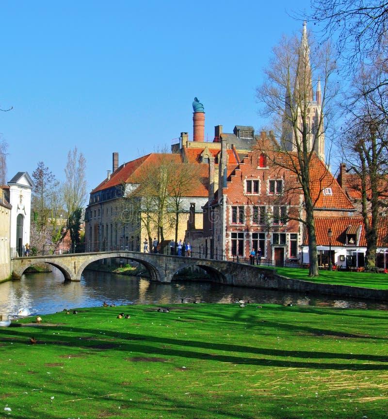 Старый канал Brugge стоковое изображение rf